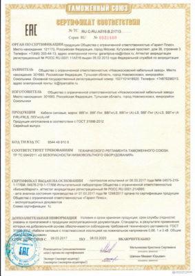 Сертификат соответствия на провода