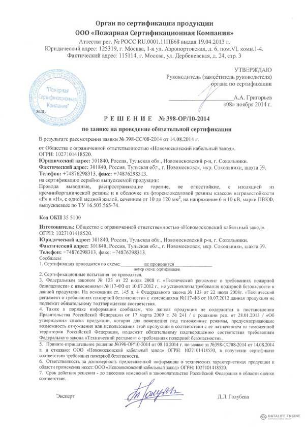 Решение по заявке на продление обязательной сертификации