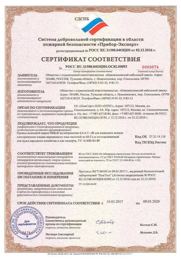 Сертификат соответствия на провода и кабеля